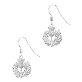 Scottish Thistle Silver Plated Drop Earrings 9188
